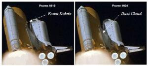 Záběr ze startu Columbie STS-107. Vlevo je vidět letící úlomek izolační pěny, vpravo oblak kouře po zásahu stroje