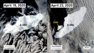 Před zánikem se z ledovce oddělila poslední velká kra A-68c.Obrázky pořídily družice NASA Terra a Aqua.