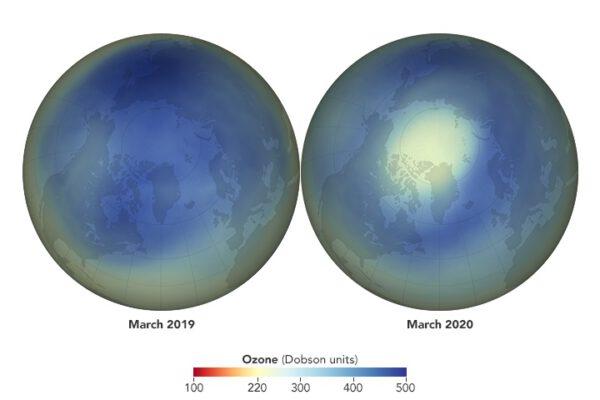 Vlevo je vidět situace nad Arktidou v březnu 2019. Stejné období, ale o rok později je patrné vpravo. Naměřené březnové minimum bylo 205 DU (Dobsonových jednotek). Čím menší číslo je, tím větší je ozonová díra. Pro srovnání – nad Českou republikou je v dlouhodobém průměru zhruba 400 DU.