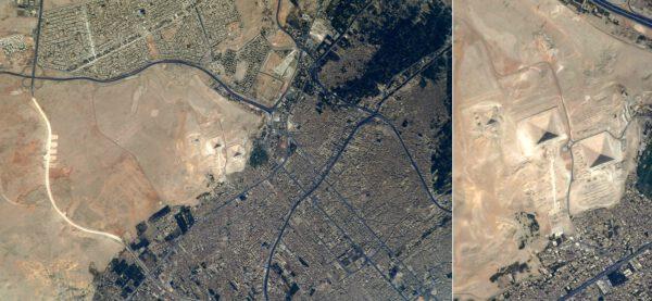 A zde už vidíme přímo pyramidy v Gíze. Dokonce je tam bez problémů viditelná i Sfinga. Najdete ji? Zdroj: Flickr.com