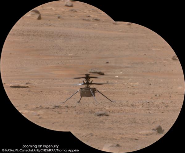Ingenuity po pátém letu na Marsu. Zdroj: NASA/JPL-Caltech/LANL/CNES/IRAP/Thomas Appéré