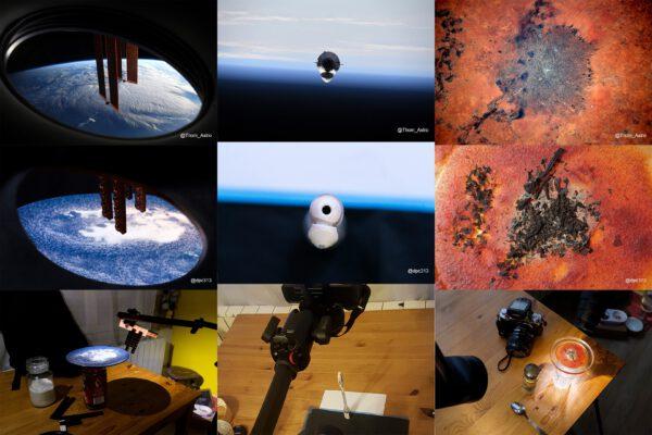 Porovnání snímků Thomase a fotografa, který jeho snímky tvoří doma. Zdroj: twitter.com