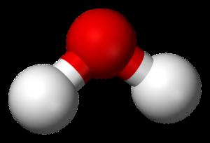 Molekula vody - jeden kyslík a dva vodíky.