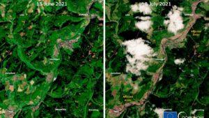 Snímky z družice Sentinel-2 ukazují zasaženou oblast Ahrweiler před povodní a po částečném opadnutí vody.