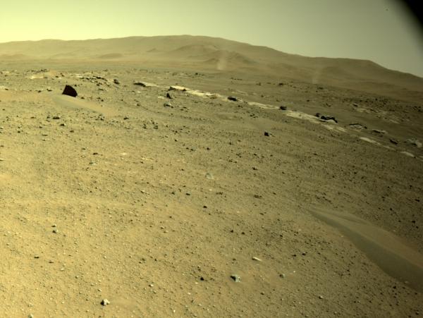 Dva prachové větrné víry zachytila na Marsu Perseverance během svého 113. dne pobytu na povrchu Marsu pomocí navigační kamery. Zdroj: NASA/JPL-Caltech