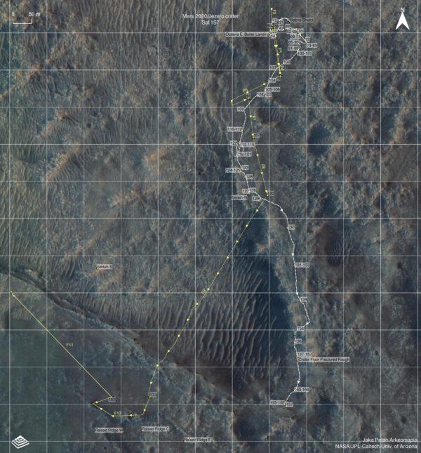 Mapa jízd Perseverance a letů Ingenuity k solu 157 (29. 7. 2021). Zdroj: NASA/JPL-Caltech/Univ. of Arizona/Jaka Pelan/Arkeomapia. Dokreslena trasa 11. letu Ingenuity ze solu 163 (Martin G.)