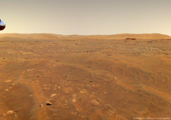Záběr z šestého letu Ingenuity, sol 91, 22. 5. 2021. Zdroj: NASA/JPL-Caltech/Thomas Appéré