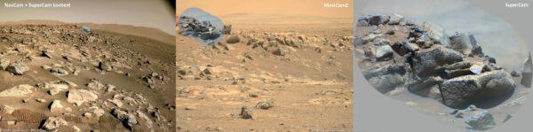 Sol 129, typická ukázka využití SuperCam na vrcholu stožáru s kamerami k dálkovému průzkumu kamenů v okolí během jízdy na jih. Kontext detailů dává snímek nejlepší barevné kamery MastCamZ a navigační kamery. Zdroj: NASA/JPL-Catech/LANL/CNES/IRAP/F.Tauber