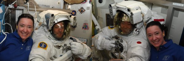 S astronauty připravenými k výstupu se přišla vyfotografovat Megan McArthur. Zdroj: flickr.com