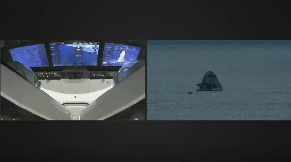 Záběr do interiéru lodi po přistání. U Crew Dragonu už je zajišťovací tým