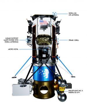 Lander Nova-C, adaptér a na něm připojený Sherpa ES