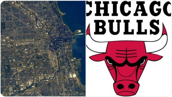 Chicago z ISS a logo týmu NBA Chicago Bulls. Zdroj: twitter.com