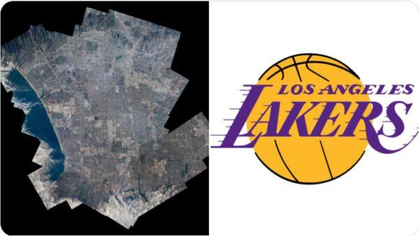 Los Angeles, L.A., z ISS a logo týmu NBA Los Angeles Lakers