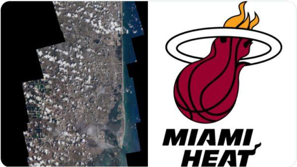 Miami z ISS a logo týmu NBA Miami Heat. Zdroj: twitter.com