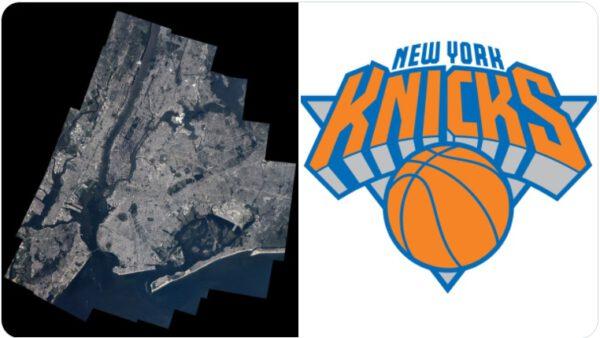 New York z ISS a logo týmu NBA New York Knicks. Zdroj: twitter.com