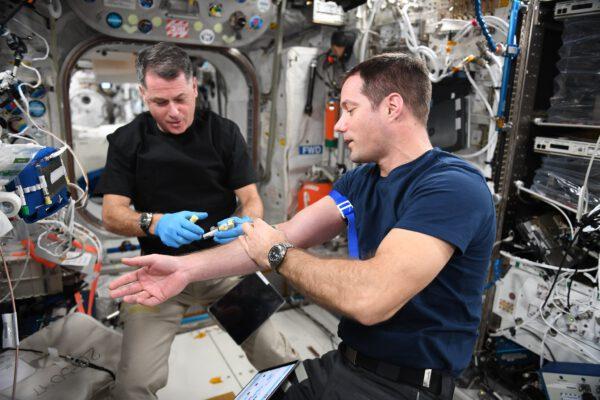 Jako astronaut nemůžete být příliš přecitlivělý. Tak jako zde, kde Shane, jako starostlivá sestra právě odebírá mou krev. Tentokrát jsem se obětoval pro experiment Functional Immune, kde vědci analyzují naše vzorky a zjišťují případné změny v našem imunitním systému. Pokud budeme znát chování naší imunity před propuknutím nemoci nejen na Zemi, ale i ve vesmíru, může nám to pomoci v léčbě mnoha nemocí. A ano, vzorky krve si všichni odebíráme sami. A i když mě píchne neprofesionál, taky mu vyčtu, že to udělal špatně 😉 Zdroj: flickr.com