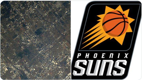 Phoenix z ISS a logo týmu NBA Phoenix Suns. Zdroj: twitter.com