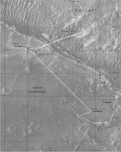 Mapa trajektorie Ingenuity při 12. letu