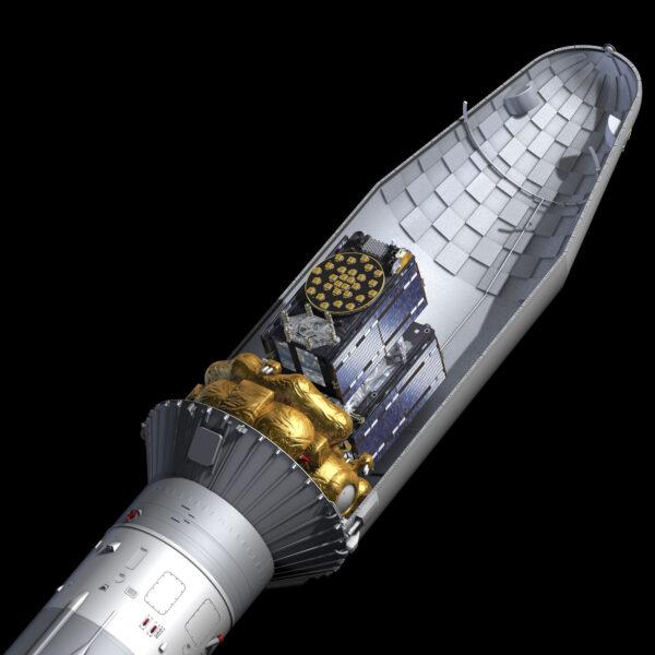 Start dvou družic Galileo na raketě Sojuz.