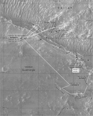 Mapa pohybu Perseverance a Ingenuity do solu 210
