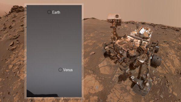 Země a Venuše na obloze Marsu
