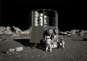 Vizualizace vykládky nákladu z evropského landeru.