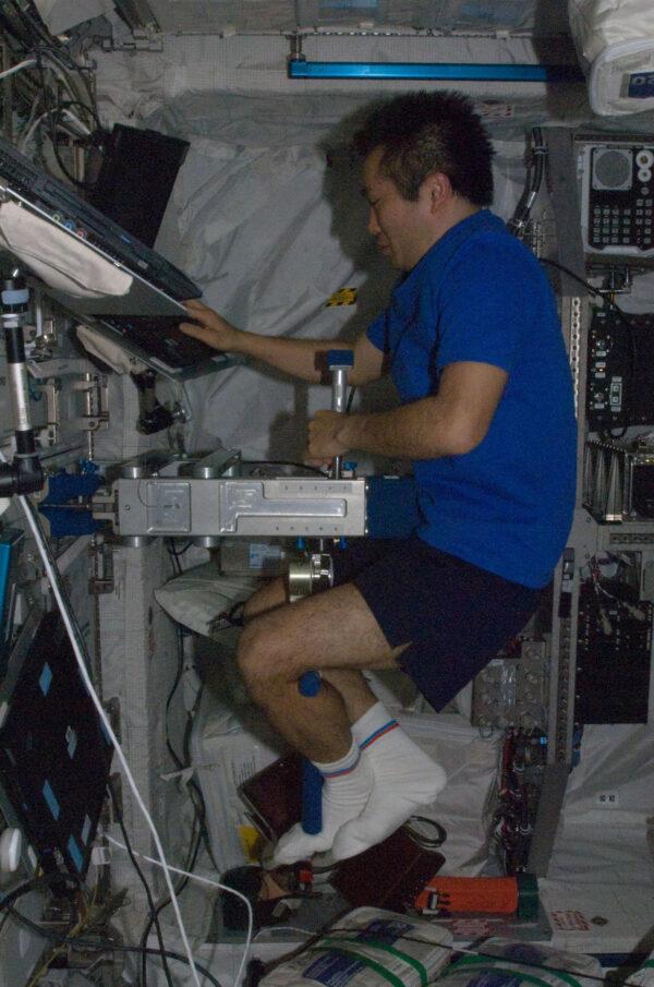 Archivní snímek: Japonský astronaut Koiči Wakata při měření tělesné hmotnosti na zařízení SLAMMD (Space Linear Acceleration Mass Measurement Device)